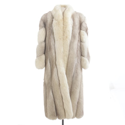Saga Fox Full Skin Blue Fox Fur Coat