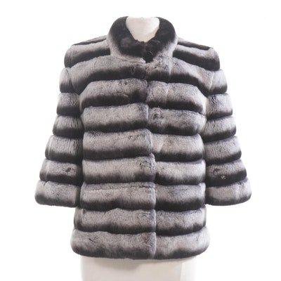 Chinchilla Dyed Rex Rabbit Fur Jacket by Banessi Furs
