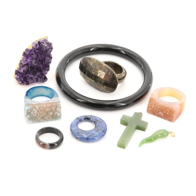 Black Onyx, Nephrite and Agate Rings, Bangle and Pendants