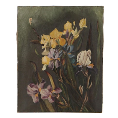 Oil Painting of Irises, Early 20th Century
