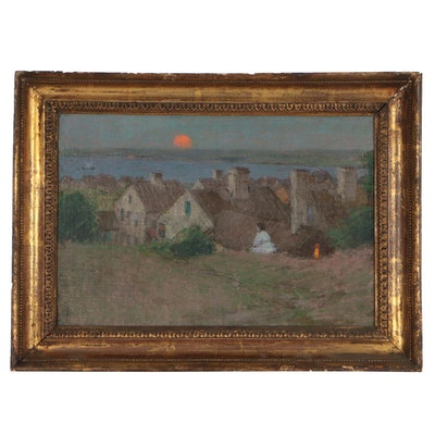 "Henry Golden Dearth Oil Painting ""Summer Twilight"", Early 20th Century"