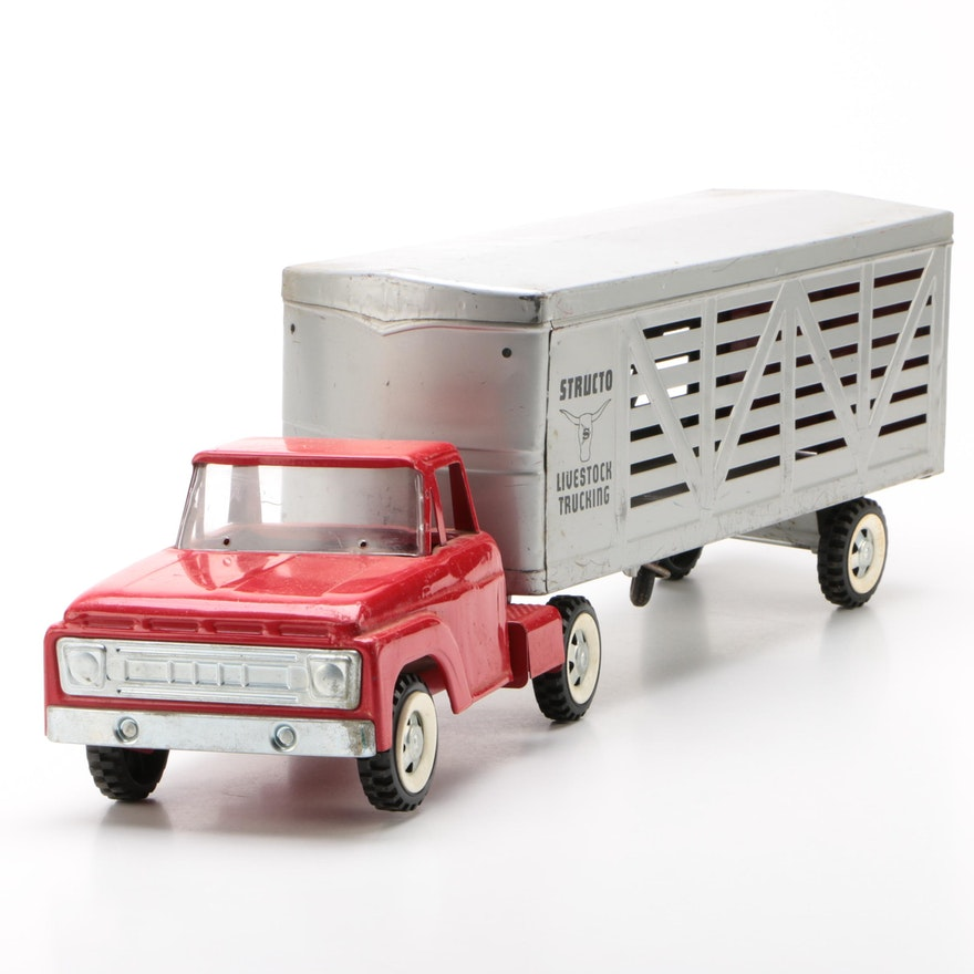 Structo Pressed Steel Livestock Truck with Trailer, 1960s