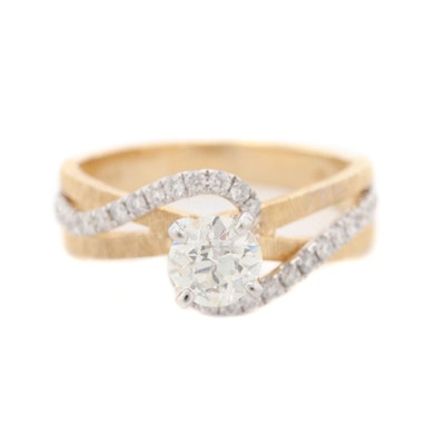 14K Yellow Gold 1.05 CTW Diamond Ring with White Gold Accent