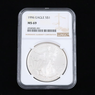 NGC Graded MS69 1996 $1 U.S. Silver Eagle