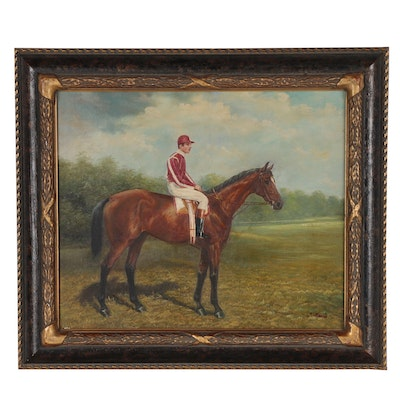 Equine Oil Painting of Jockey on Horse