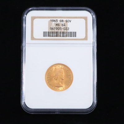 NGC Graded MS64 1963 British Gold Sovereign