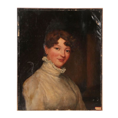 American School Oil Portrait, Late 19th Century