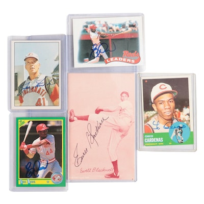 Cincinnati Reds Signed Baseball Cards and an Exhibit Cards