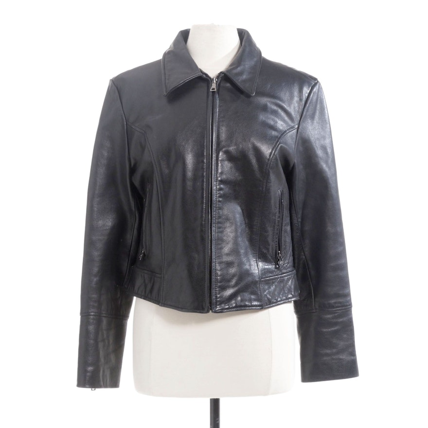 Guess Black Leather Motorcycle Jacket