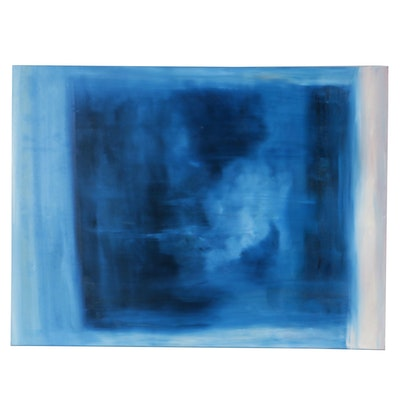 Dennis DeGraw Blue Abstraction Oil Painting