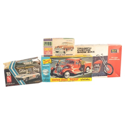Model Hobby Car and Motorcycle Kits Including Revell and AMT, 1960s