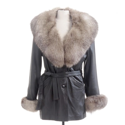 Black Leather Double-Breasted Belted Coat with Fox Fur Trim by Boutigue Kale