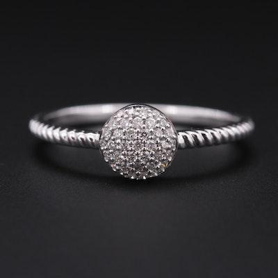 14K White Gold Pavé Diamond Stackable Ring