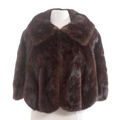 Dark Mahogany Mink Fur Capelet by Adrian Thal