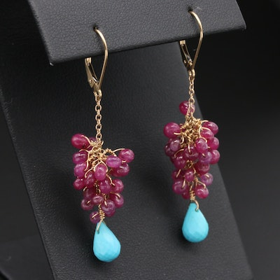 14K Yellow Gold Ruby and Turquoise Earrings