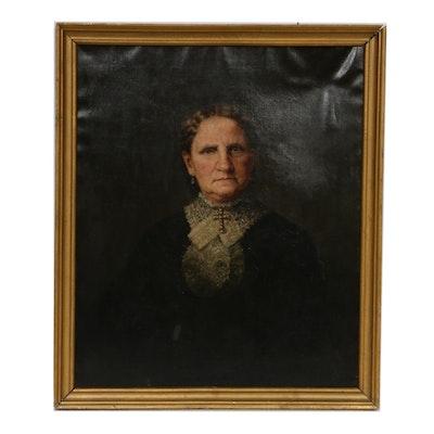 19th Century Female Portrait Oil Painting