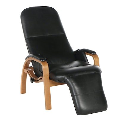 Nepsco Inc. Laminated Birch and Leather Reclining Armchair, Late 20th Century