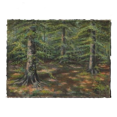 M. E. Johnston Forest Landscape Oil Painting, 20th Century