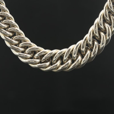 Sterling Silver Graduated Curb Link Chain Necklace