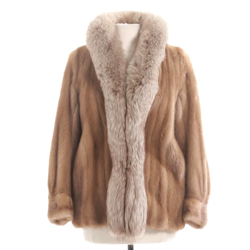 Mink Fur Jacket with Fox Fur Trim by Donald Brooks