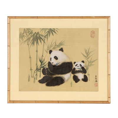 Chinese Panda Gouache Painting, 20th Century