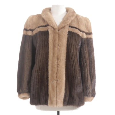 Two-Tone Mink Fur Jacket with Corded Mink Fur by La Belle
