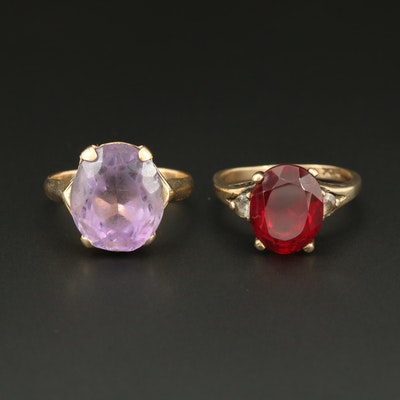 Vintage 14K and 10K Yellow Gold Amethyst, Ruby and White Spinel Rings