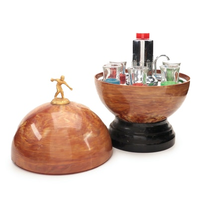 United Metal Goods Mfg. Co. Inc. Bowling Ball Bar with Shot Glasses, 1950s