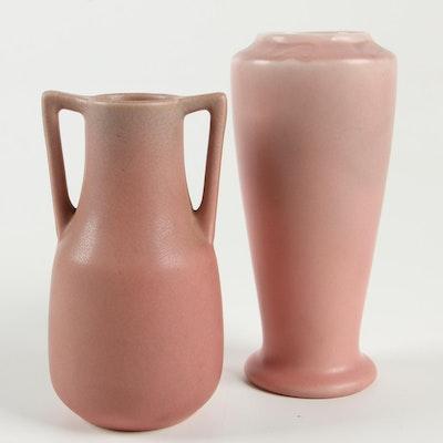 Rookwood Pottery Pink Matte Glaze Vases, 1925–1928