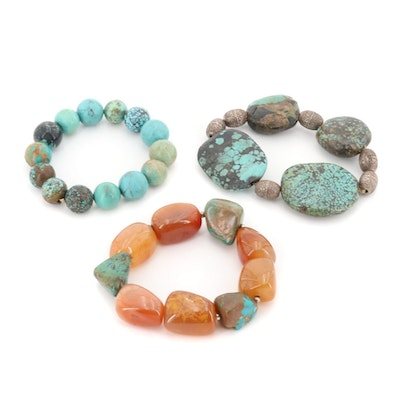 Sterling Silver Turquoise and Agate Beaded Bracelets