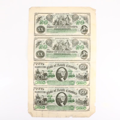 Uncut Sheet of Four Obsolete 1872 South Carolina Banknotes