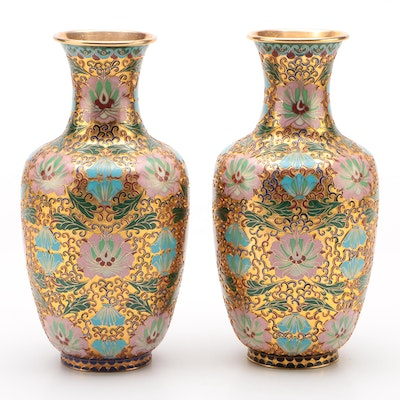 Pair of Champlevé Enamel Baluster Vases, Early 20th Century