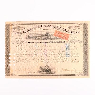 Lake Shore Railway Company Stock Certificate, 1868