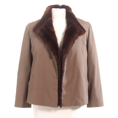 Dyed Mahogany Mink Fur Lined Jacket with Fur Collar