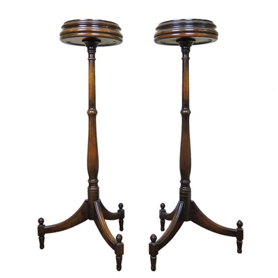 Regency Style Mahogany Plant Stands Pair, Second Half 20th Century