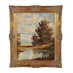 Heinrich Berger Continental Landscape Oil Painting, Early 20th Century
