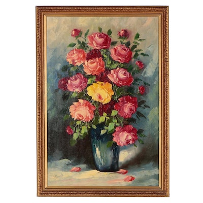 Leon Franks Floral Oil Painting, Mid 20th Century