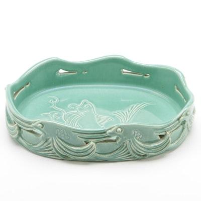 RO Art Pottery Centerpiece with Koi Design