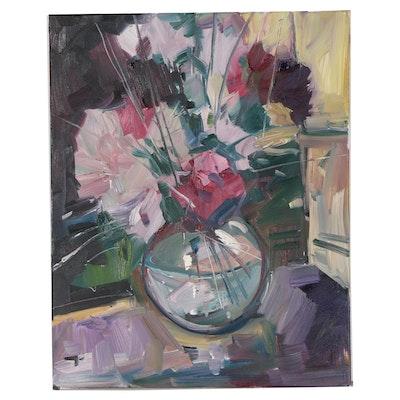 "Jose Trujillo Oil Painting ""Pink and Purple Arrangement"""