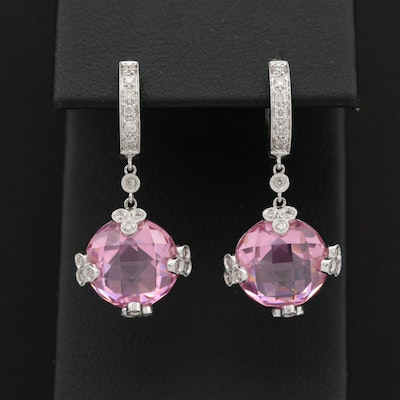 18K White Gold Cubic Zirconia and Diamond Drop Earrings