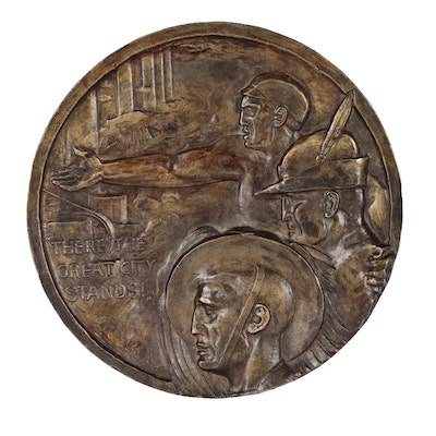 """Onorio Ruotolo WPA Era Cast Bronze Relief """"There the Great City Stands"""""""
