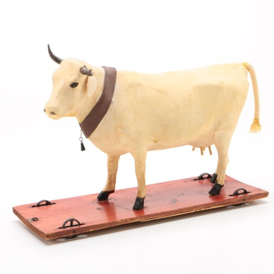 Molded Hide Cow Pull Toy, Antique