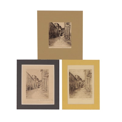 """Charles Svendsen Etchings """"Old Assisi, Italy"""", Early 20th Century"""