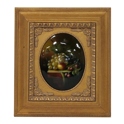 Hinged Wall Key Keeper with Convex Still Life Painting