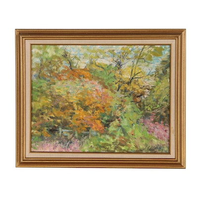 William J. Schultz Vernal Landscape Oil Painting