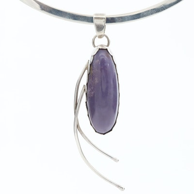 Southwestern Style Sterling Silver Agate Collar Necklace