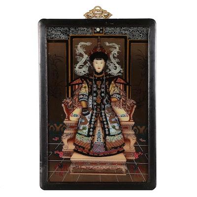 Chinese Style Reverse-Glass Serigraph Ancestor Portrait
