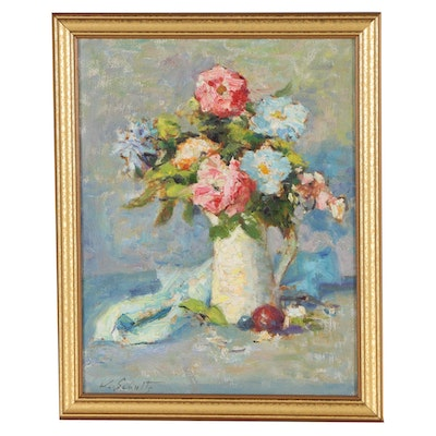 William J. Schultz Floral Still Life Oil Painting