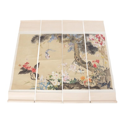 Chinese Landscape Quadtych Watercolor on Silk Painting