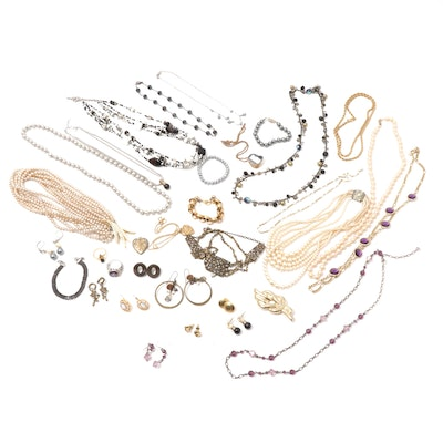 Vintage Jewelry Including Rings, Earrings and Imitation Pearl Necklaces